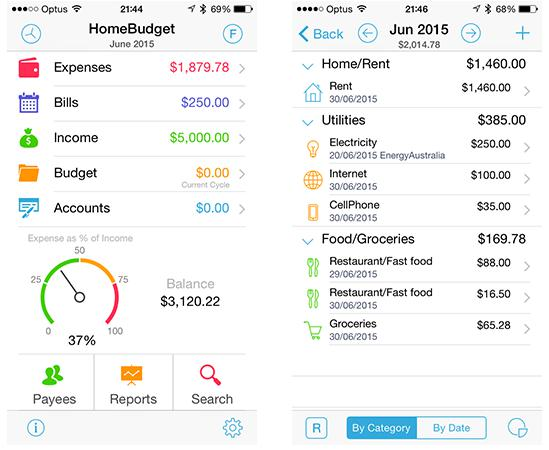 phần mềm quản lý tài chính Home Budget