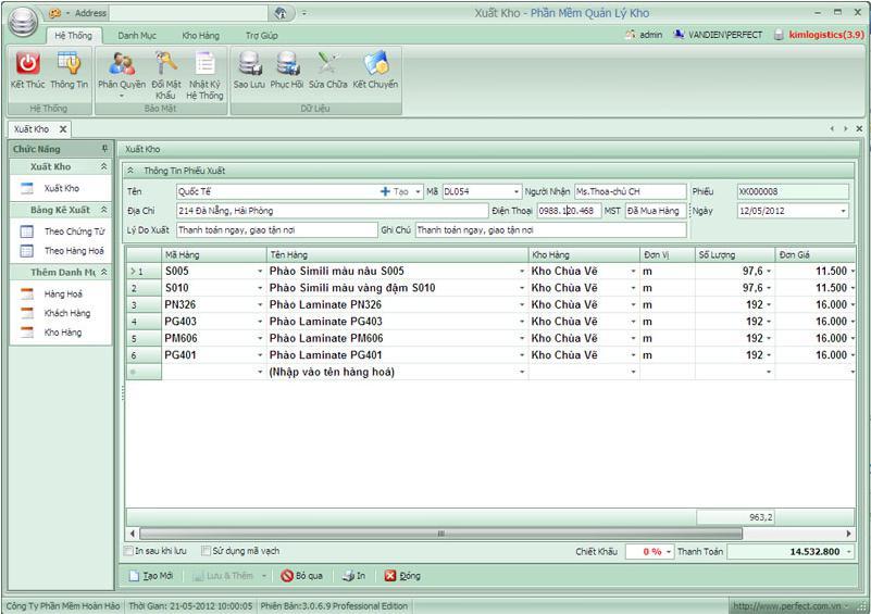 phần mềm quản lý kho Perfect Warehouse