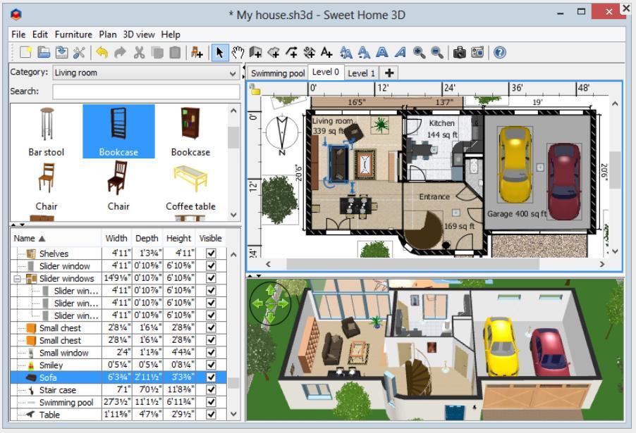 phần mềm vẽ sơ đồ SweetHome 3D