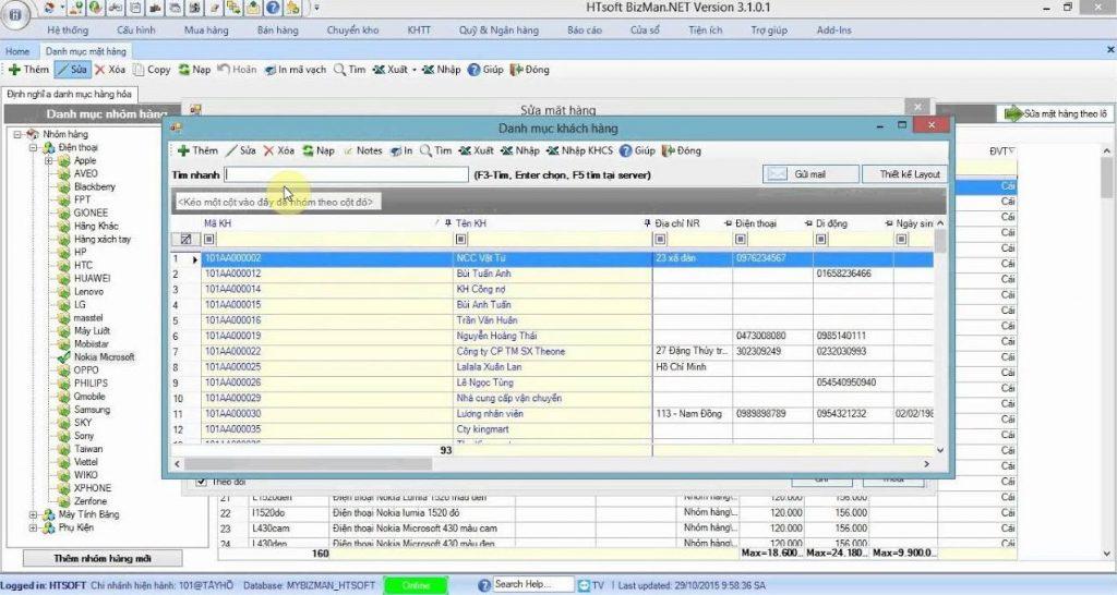 Phần mềm quản lý cơ sở dữ liệu HTsoft BizMan.NET