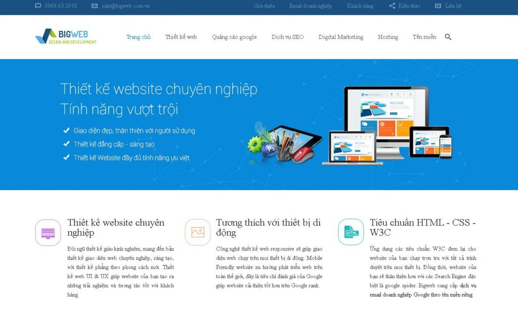 Công ty thiết kế website du lịch chuẩn SEO Bigweb
