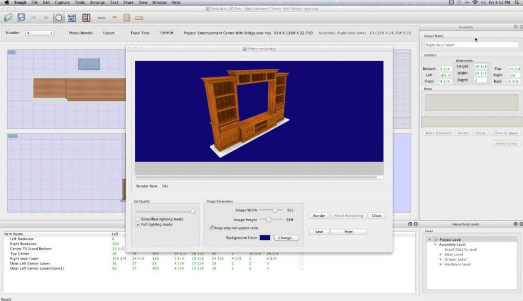 SketchList 3D: Phần mềm thiết kế đồ gỗ