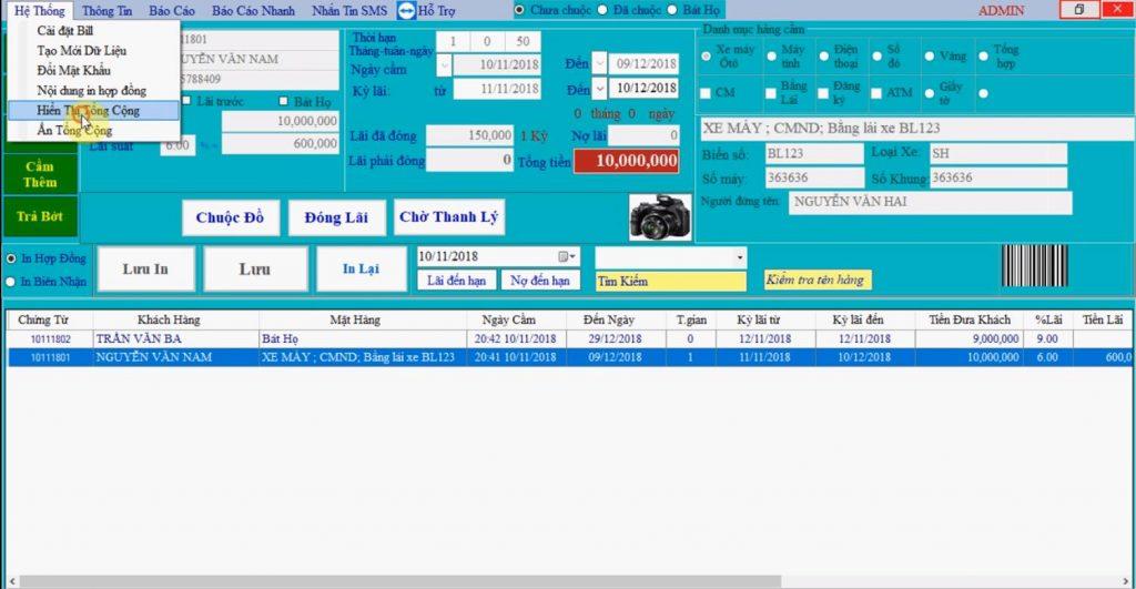 phần mềm quản lý cầm đồ Toàn Cầu