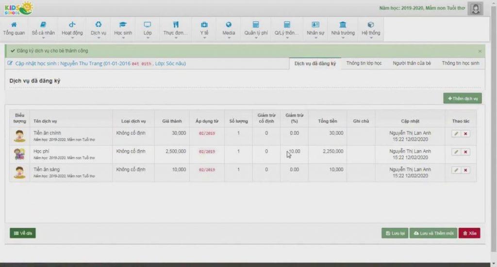 phần mềm quản lý mầm non Kodsschool