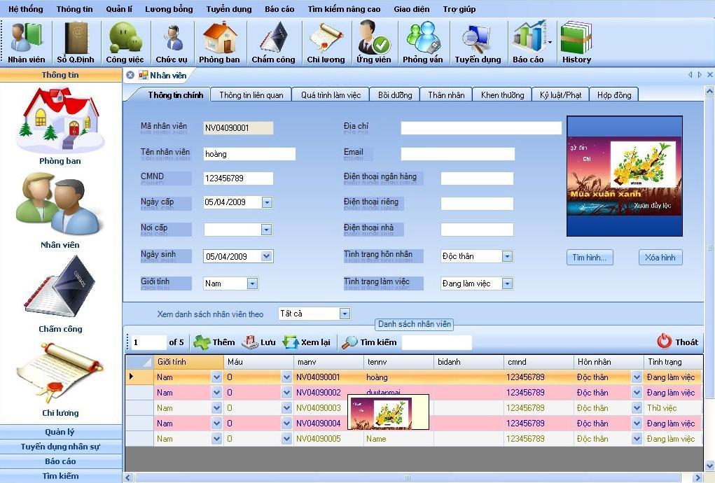phần mềm quán lý nhân sự