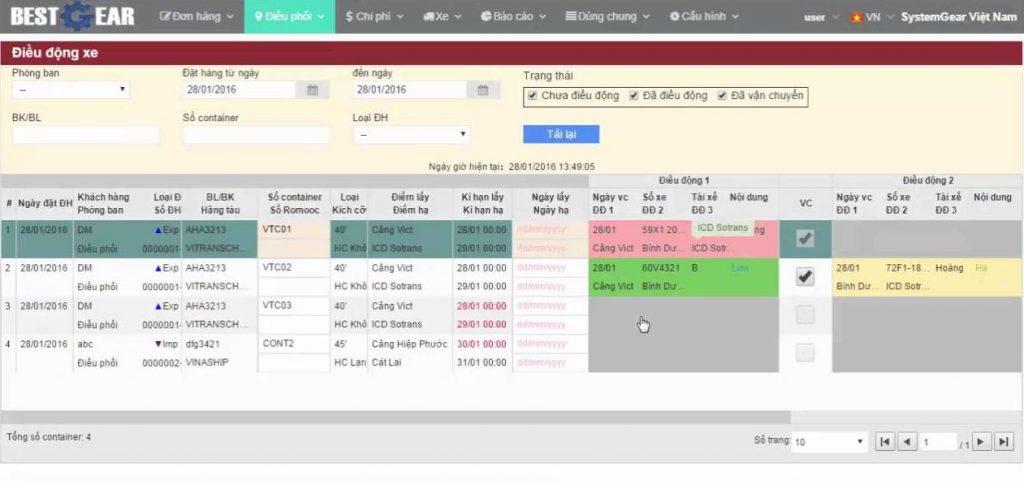 Phần mềm quản lý vận tải - container Best Gear