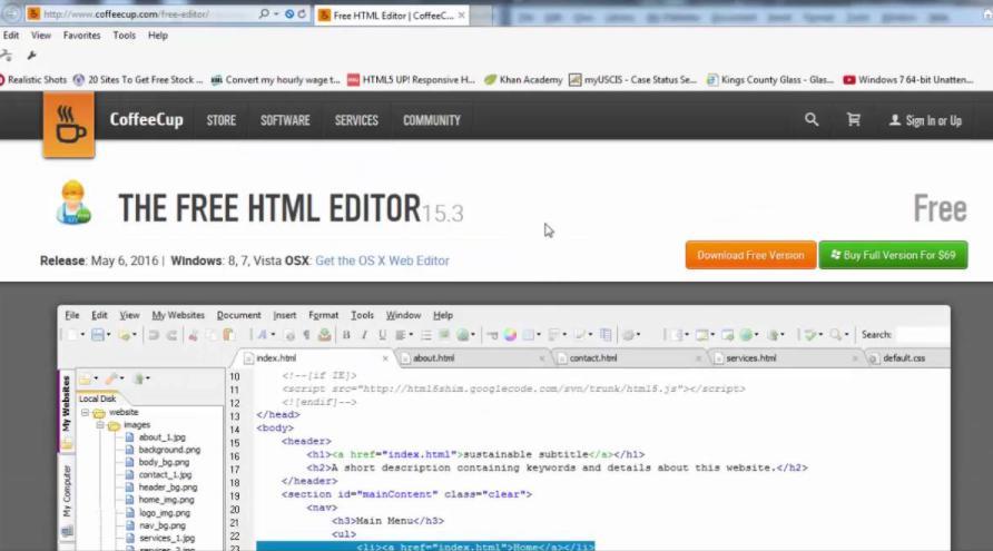 Phần mềm làm web chuyên nghiệp CoffeeCup Free HTML Editor