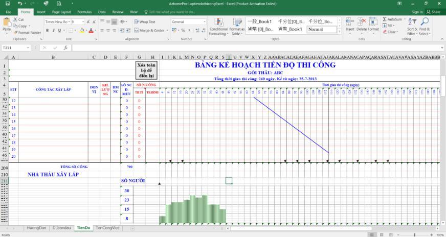 Phần Mềm lập tiến độ thi công Az homePro trên Excel