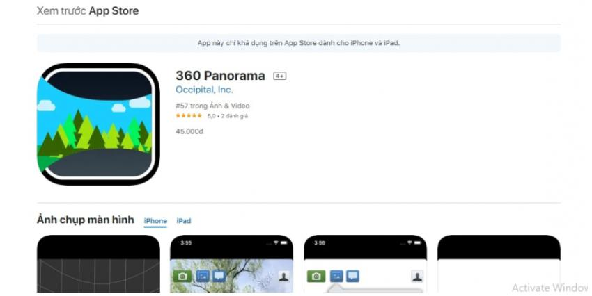 Ứng dụng chụp ảnh 360 độ trên IOS Panorama