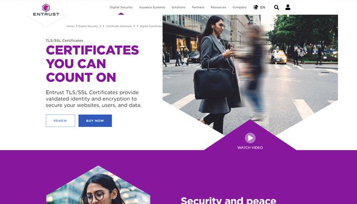 Dịch vụ đăng ký SSL Certificate - Entrust
